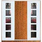 Шкафы-купе с фасадами из ДСП, МАТОВЫХ зеркал и зеркал с РИСУНКОМ пескоструй на 2 двери